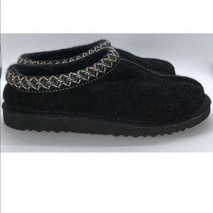 UGG Tasman Embroidered Suede Black Clog Size 7M